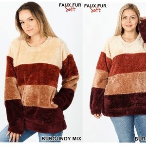 NEW BURGUNDY MIX FAUX FUR PULLOVER SWEATER TOP